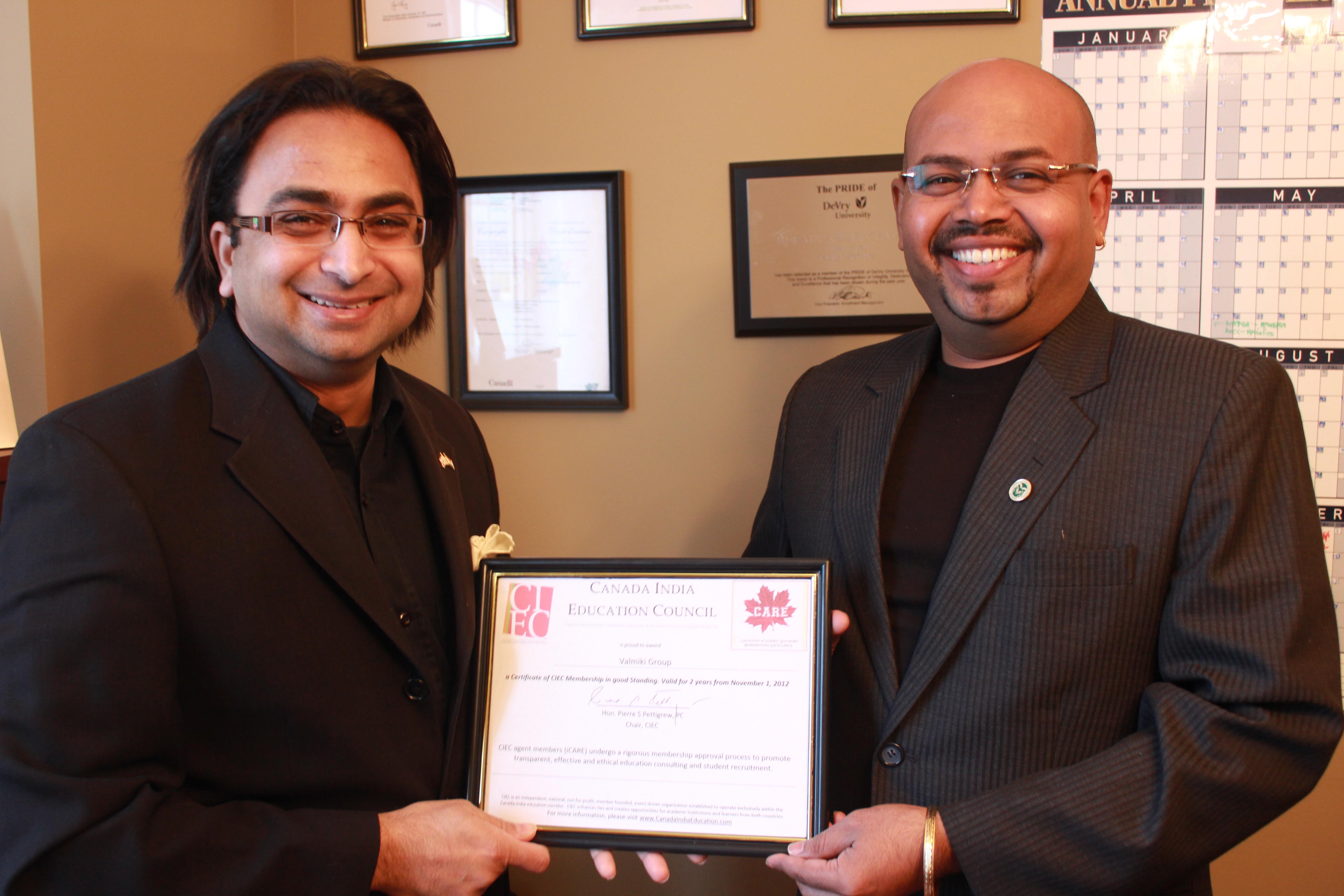 Valmiki Receives Certificate of CIEC Membership