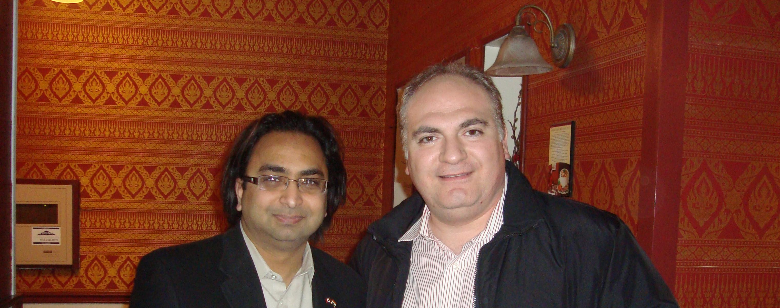 Husain (L) with Jean-Philippe Tachdjian
