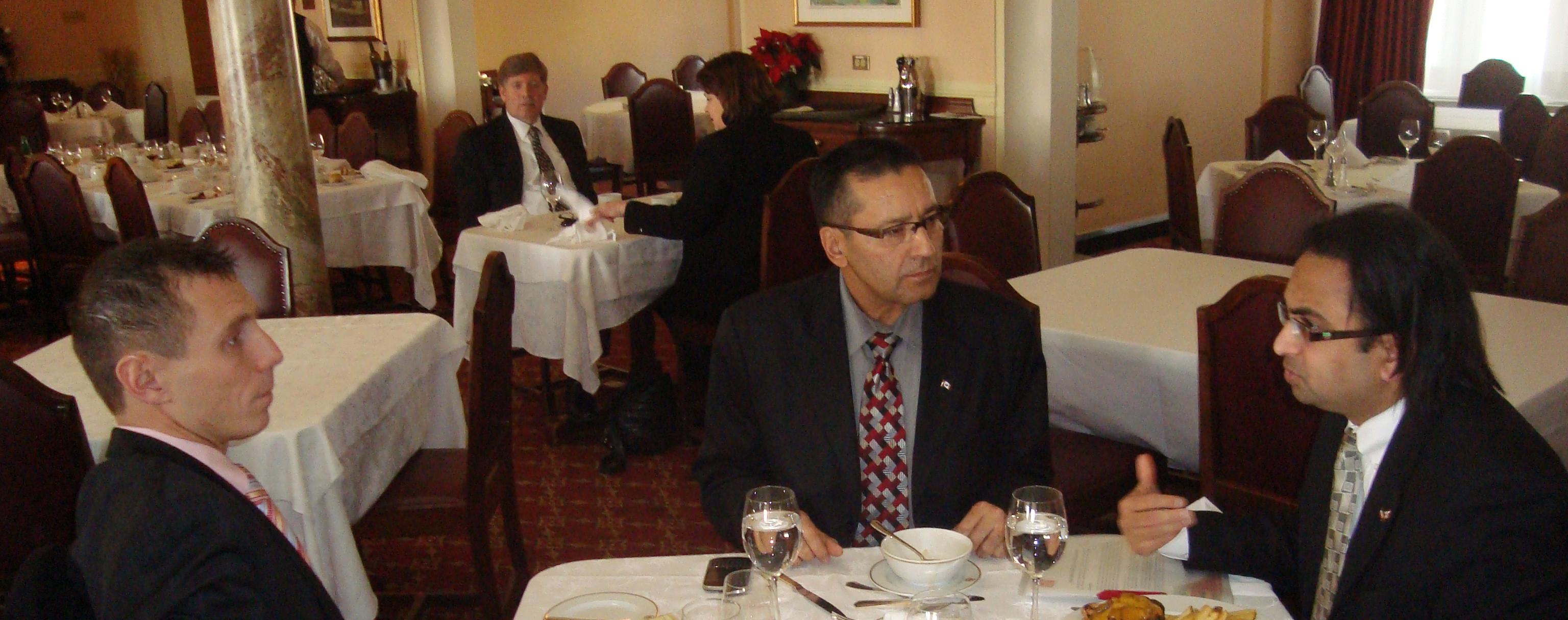 Husain (R) with MPs Patrick Brown and Devinder Shorey